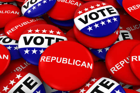 republican party: Vote Republican Concept - Campaign Buttons in Pile 3D Illustration