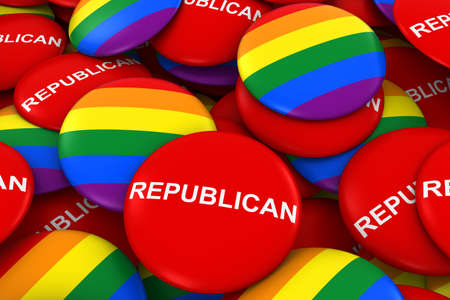 republican party: Republican Party Gay Rights Concept - Rainbow Flag Buttons and Campaign Buttons 3D Illustration