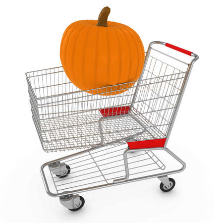 massive: Shopping Cart with One Massive Pumpkin Resting on Top 3D Illustration