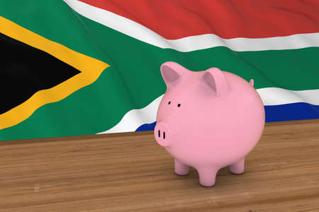 south african: South Africa Finance Concept - Piggybank in front of South African Flag 3D Illustration