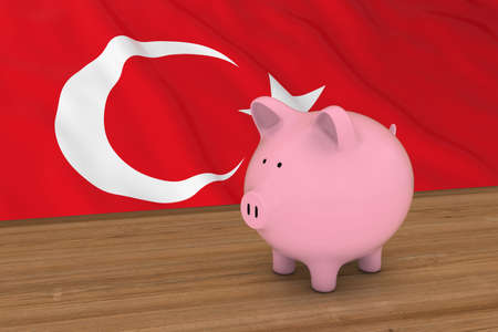 turkish flag: Turkey Finance Concept - Piggybank in front of Turkish Flag 3D Illustration