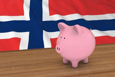 piggybank: Norway Finance Concept - Piggybank in front of Norwegian Flag 3D Illustration