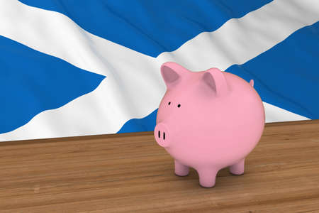 scottish flag: Scotland Finance Concept - Piggybank di fronte illustrazione scozzese bandiera 3D