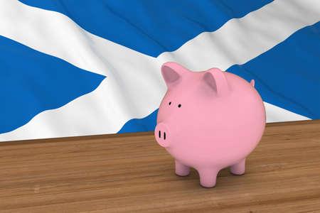 scottish flag: Scotland Finance Concept - Piggybank in front of Scottish Flag 3D Illustration