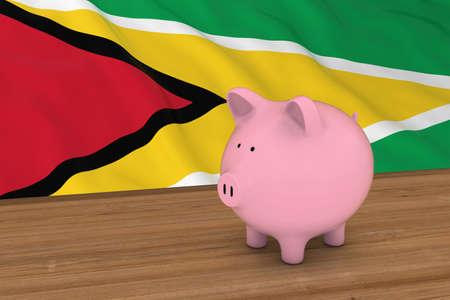 guyanese: Guyana Finance Concept - Piggybank in front of Guyanese Flag 3D Illustration