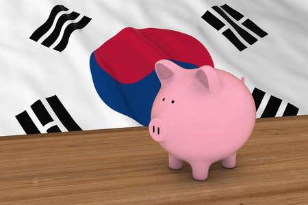 korean national: South Korea Finance Concept - Piggybank in front of South Korean Flag 3D Illustration