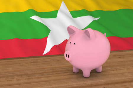 burmese: Myanmar Finance Concept - Piggybank in front of Burmese Flag 3D Illustration