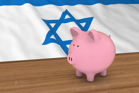 israeli flag: Israel Finance Concept - Piggybank in front of Israeli Flag 3D Illustration