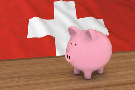 swiss flag: Switzerland Finance Concept - Piggybank in front of Swiss Flag 3D Illustration Stock Photo