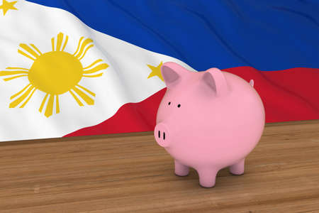 filipino: Philippines Finance Concept - Piggybank in front of Filipino Flag 3D Illustration Stock Photo