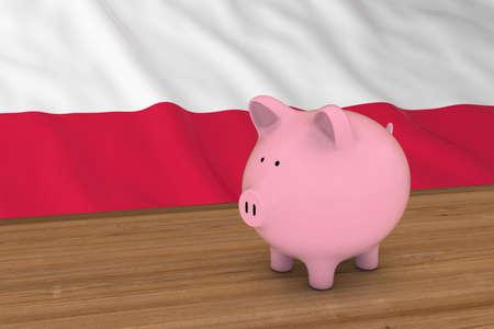 bandera de polonia: Polonia Concepto de Finanzas - alcancía en frente de la ilustración de la bandera polaca 3D Foto de archivo