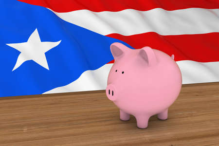 puerto rican: Puerto Rico Finance Concept - Piggybank in front of Puerto Rican Flag 3D Illustration Stock Photo