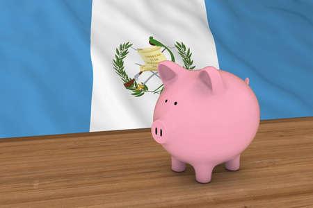 guatemalan: Guatemala Finance Concept - Piggybank in front of Guatemalan Flag 3D Illustration