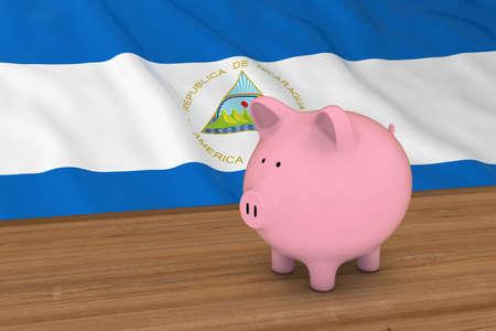 nicaraguan: Nicaragua Finance Concept - Piggybank in front of Nicaraguan Flag 3D Illustration