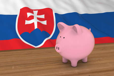 Slovakia Finance Concept - Piggybank in front of Slovakian Flag 3D Illustration