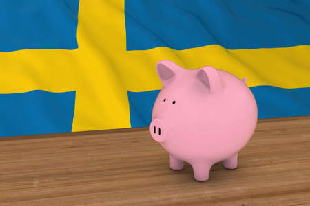 swedish: Sweden Finance Concept - Piggybank in front of Swedish Flag 3D Illustration