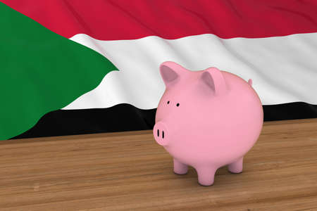 Sudan Finance Concept - Piggybank in front of Sudanese Flag 3D Illustration