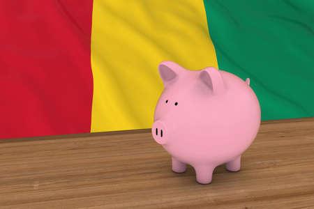 guinea pig: Guinea Finance Concept - Piggybank in front of Guinean Flag 3D Illustration