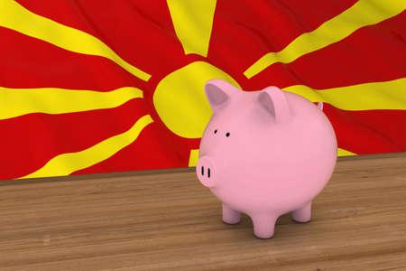 macedonian flag: Macedonia Finance Concept - Piggybank in front of Macedonian Flag 3D Illustration Stock Photo