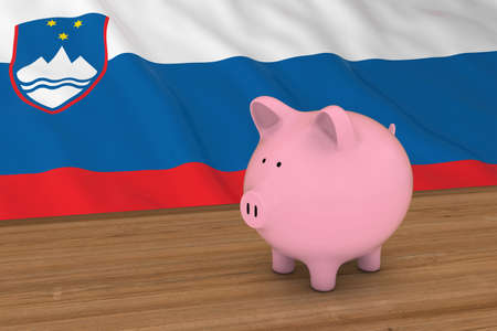 slovenian: Slovenia Finance Concept - Piggybank in front of Slovenian Flag 3D Illustration Stock Photo