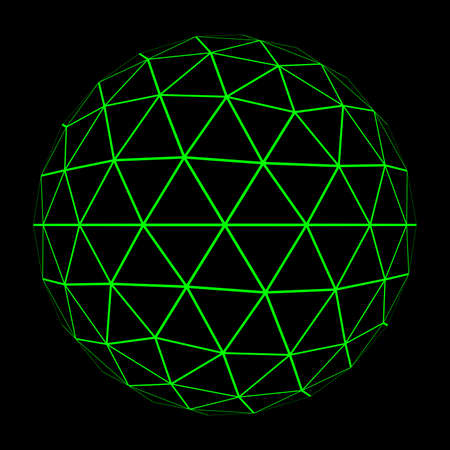geosphere: 3D Geosphere Mesh with Glowing Green Grid Lines 3D Illustration