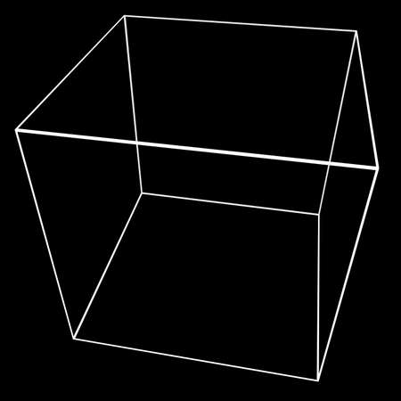 tessellated: 3D Cube Mesh with White Edge Lines 3D Illustration
