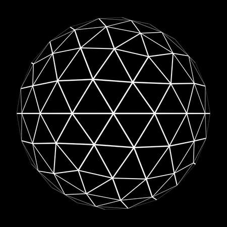 3D Geosphere Mesh with White Edge Lines 3D Illustration Stock Photo