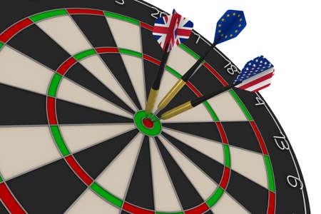 dart board: Dart Board with UK, EU and US Flag Darts in Bullseye 3D Illustration