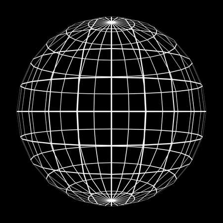 tessellated: 3D Sphere Mesh with White Edge Lines 3D Illustration Stock Photo