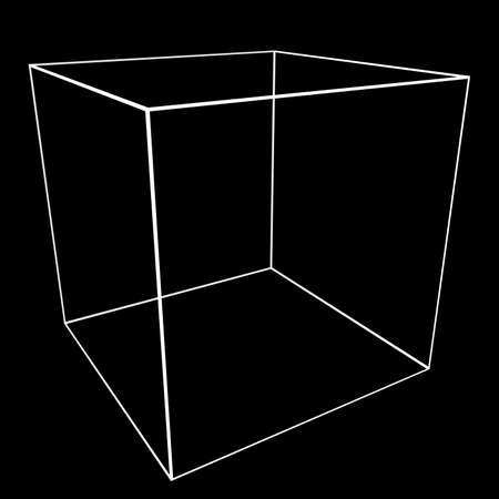 tessellation: 3D Cube Mesh with White Edge Lines 3D Illustration