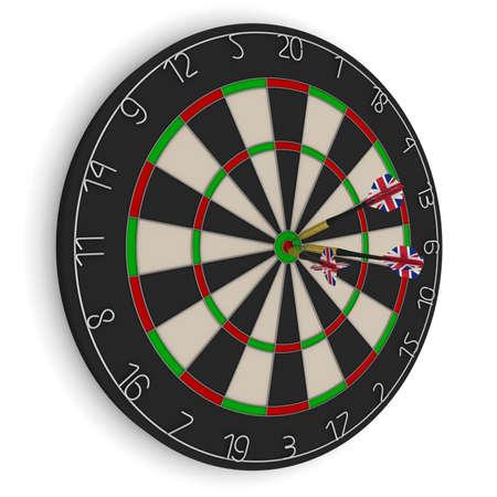 Dart Board with Three UK Flag Darts in Bullseye Isolated on White 3D Illustration