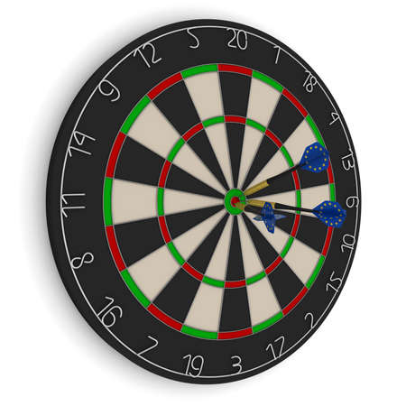 eu flag: Dart Board with Three EU Flag Darts in Bullseye Isolated on White 3D Illustration Stock Photo