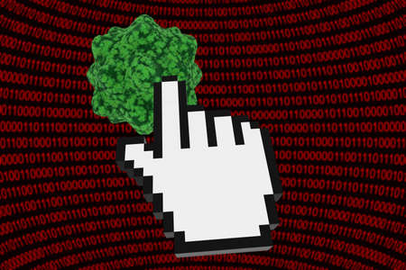 clicking: Clicking on a Virus - Computer Virus on Binary Background with Hand Cursor 3D Illustration