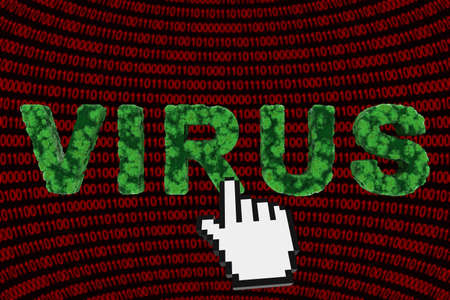 Computer Virus Concept - Virus Text on Binary Code Background 3D Illustration