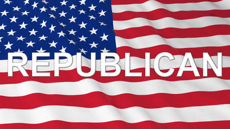polling: US Elections - American Flag with White Republican Text 3D Illustration Stock Photo
