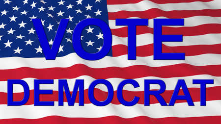 democrat: US Elections - American Flag with Blue Vote Democrat Text 3D Illustration