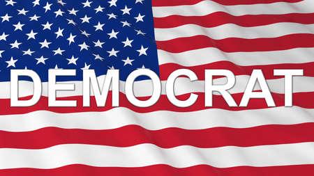democrat: US Elections - American Flag with White Democrat Text 3D Illustration