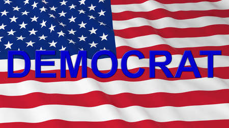 text 3d: US Elections - American Flag with Blue Democrat Text 3D Illustration