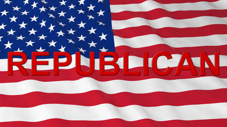 US Elections - American Flag with Red Republican Text 3D Illustration