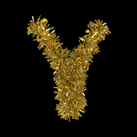 Letter Y made from Gold Christmas Tinsel Isolated on Black - 3D Illustration Stock Photo