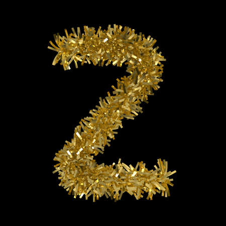 Letter Z made from Gold Christmas Tinsel Isolated on Black - 3D Illustration Stock Photo