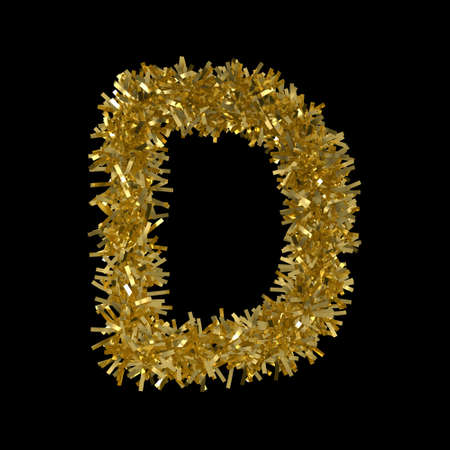 Letter D made from Gold Christmas Tinsel Isolated on Black - 3D Illustration