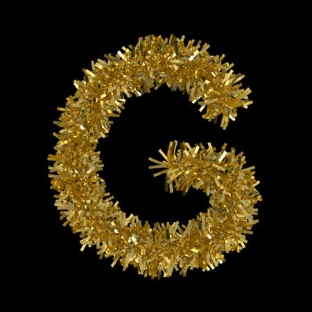 Letter G made from Gold Christmas Tinsel Isolated on Black - 3D Illustration