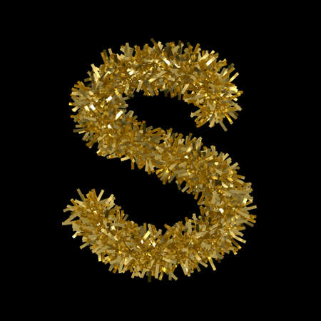 Letter S made from Gold Christmas Tinsel Isolated on Black - 3D Illustration