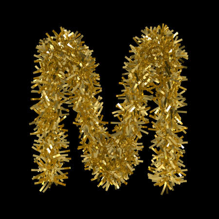 m: Letter M made from Gold Christmas Tinsel Isolated on Black - 3D Illustration