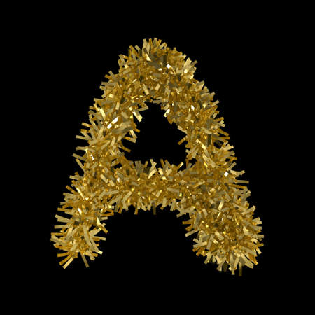 Letter A made from Gold Christmas Tinsel Isolated on Black - 3D Illustration Stock Photo