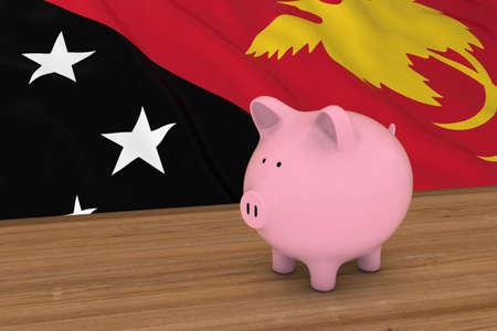 piggybank: Papua New Guinea Finance Concept - Piggybank in front of Papua New Guinean Flag 3D Illustration