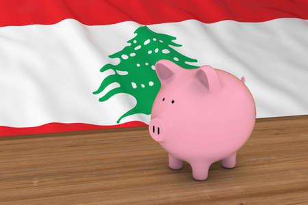 piggybank: Lebanon Finance Concept - Piggybank in front of Lebanese Flag 3D Illustration