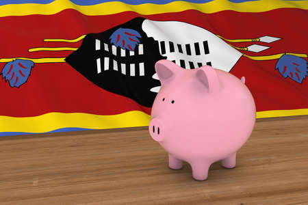 Swaziland Finance Concept - Piggybank in front of Swazi Flag 3D Illustration Stock Photo