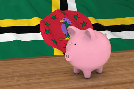 Dominica Finance Concept - Piggybank in front of Dominican Flag 3D Illustration Stock Photo